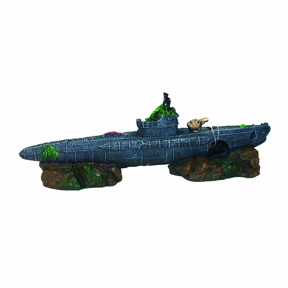 Submarine on rocks 25x6x9cm