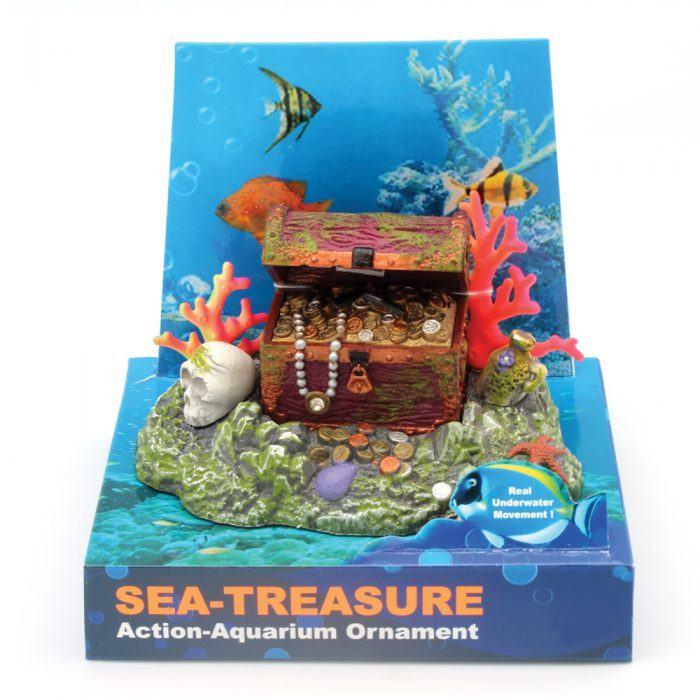 Hugo kamishi treasure chest aerating aquarium ornament for Fish tank treasure chest